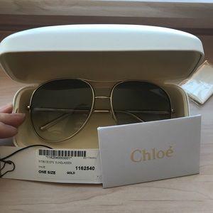 Chloe Nola Oversized Square Aviator Sunglasses